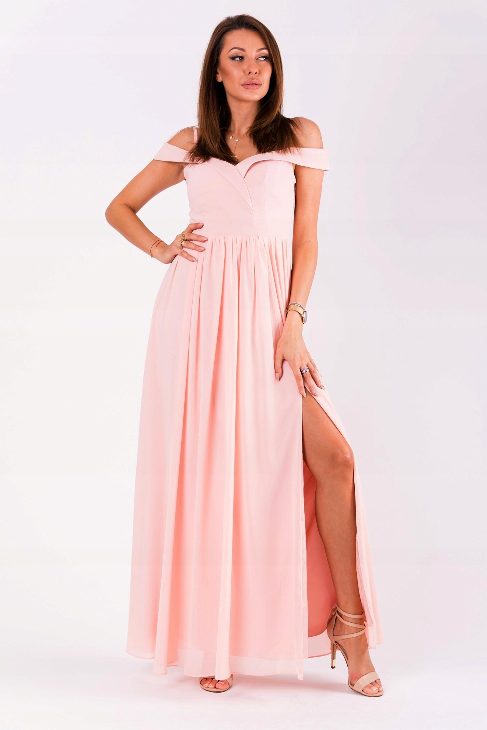 5305d69dfc Suknia MAXI -opadające ramiączka - pudrowy róż - 7505775690 ...