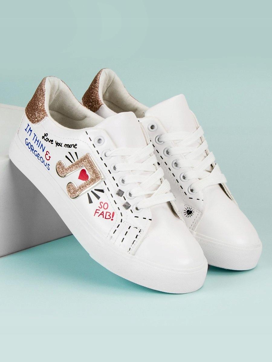 792ef412fb2a4 41 STYLOWE BIAŁE TRAMPKI bez obcasa obuwie butki - 7628617760 ...