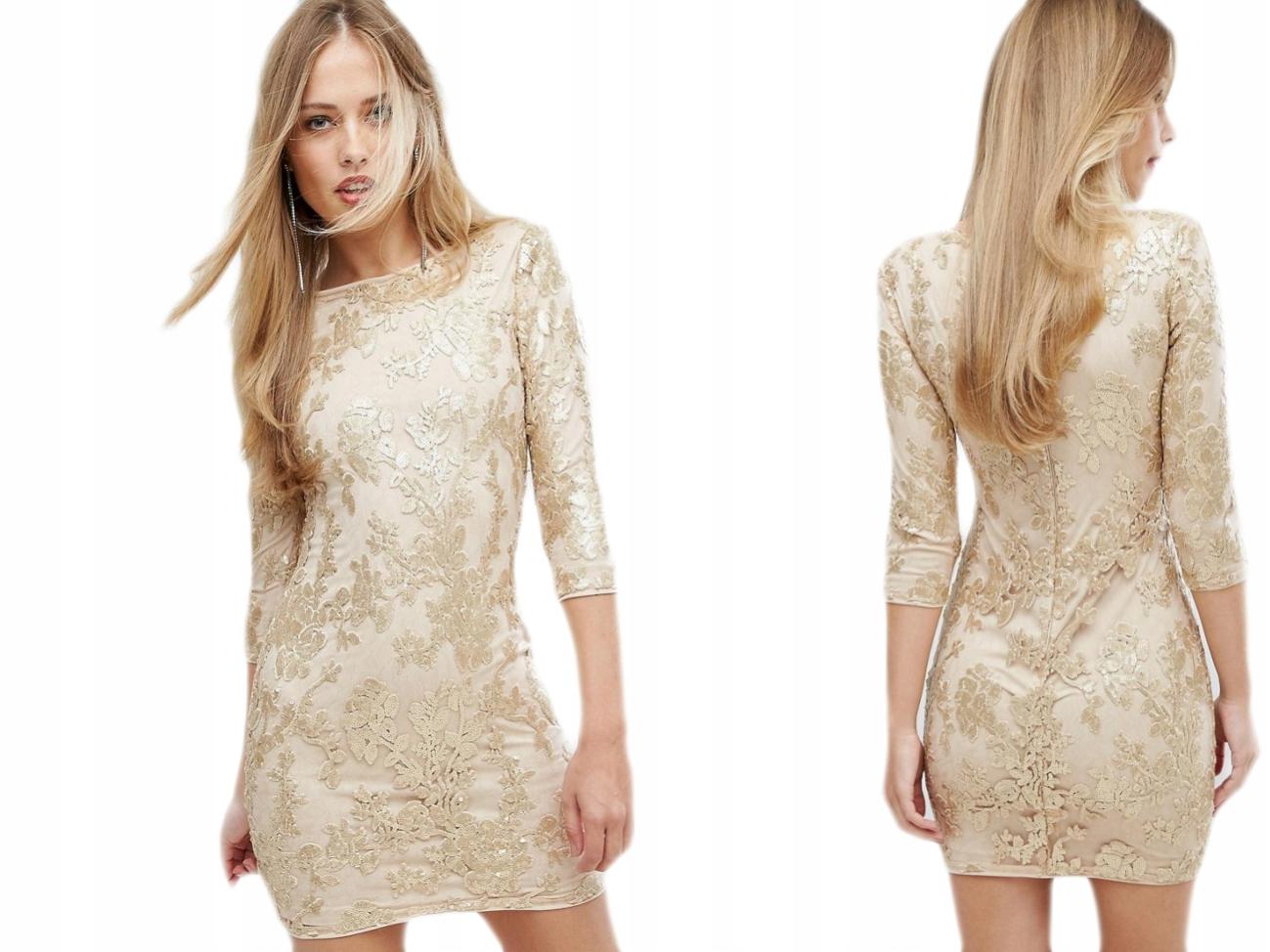 1eb6d33aacf4f4 TFNC beżowa sukienka z cekinami mini M/38 - 7696012236 - oficjalne ...