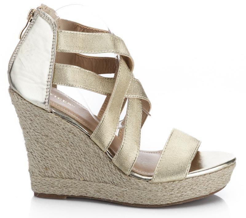 buty damskie na koturnie słomianej zamszowe