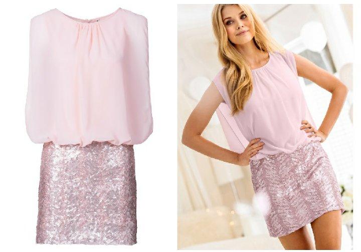 aed443d4 Różowa sukienka cekiny Bonprix BODYFLIRT 40 nowa