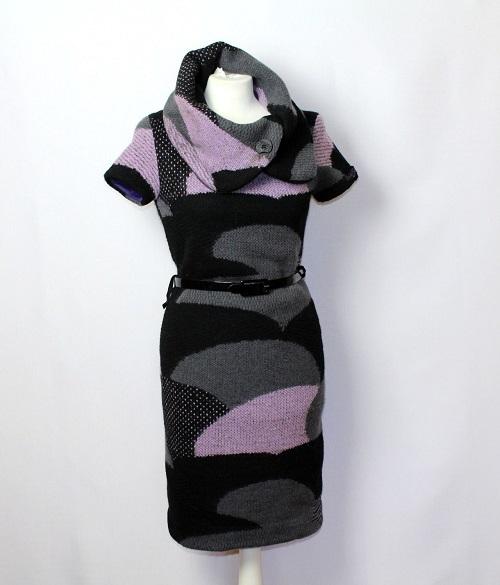 38ab5093 Włoska wełniana dzianinowa sukienka golf 36/S wzór