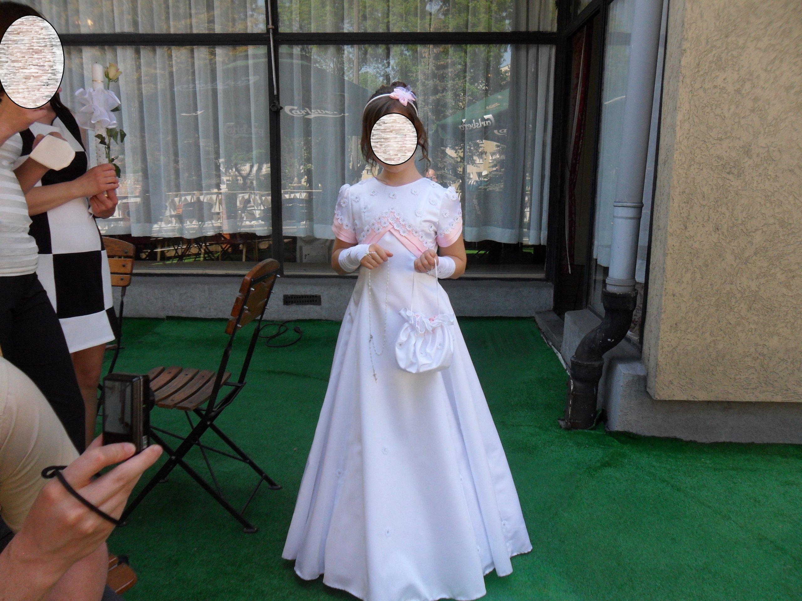 02d6fc94de Piękna sukienka komunijna +dodatki komplet 140 152 - 7211494452 ...