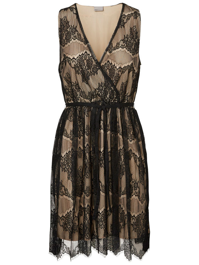 09ea6a00e9 VERO MODA Kremowa sukienka czarna koronka V NECK M - 7359052437 ...