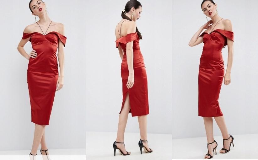 63095fb670 czerwona suknia bardotka elegancka czerwien midi 3 - 7573254470 ...