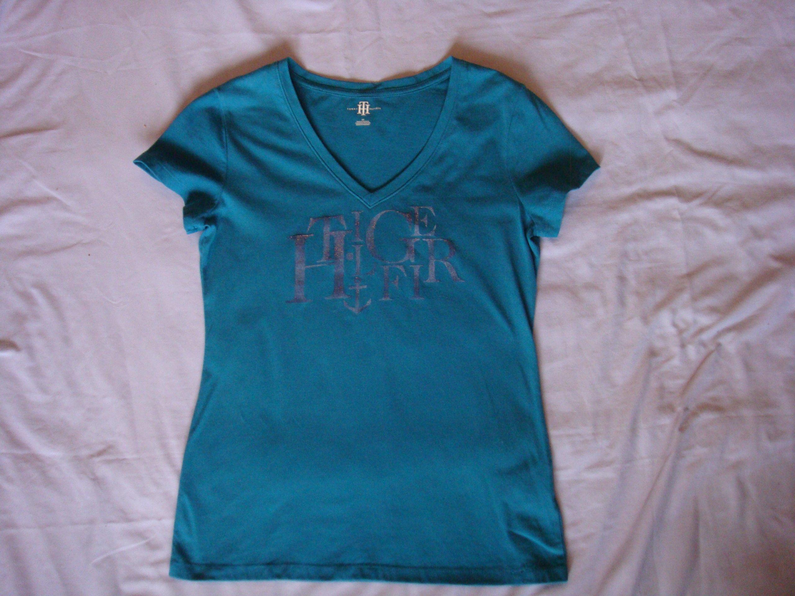 42ae6b7f7 Tommy Hilfiger turkusowy oryginalny t-shirt S - 7231964820 - oficjalne ...