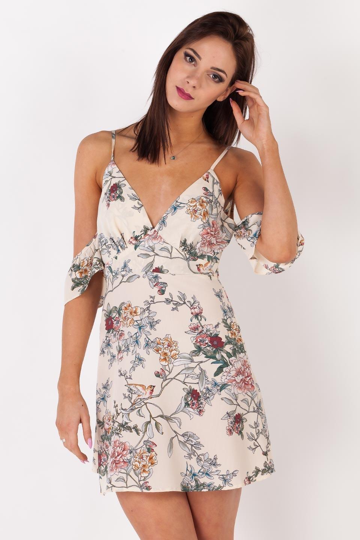 c06acefab5 Sale % Kremowa sukienka w pastelowe kwiaty L - 6822363220 ...