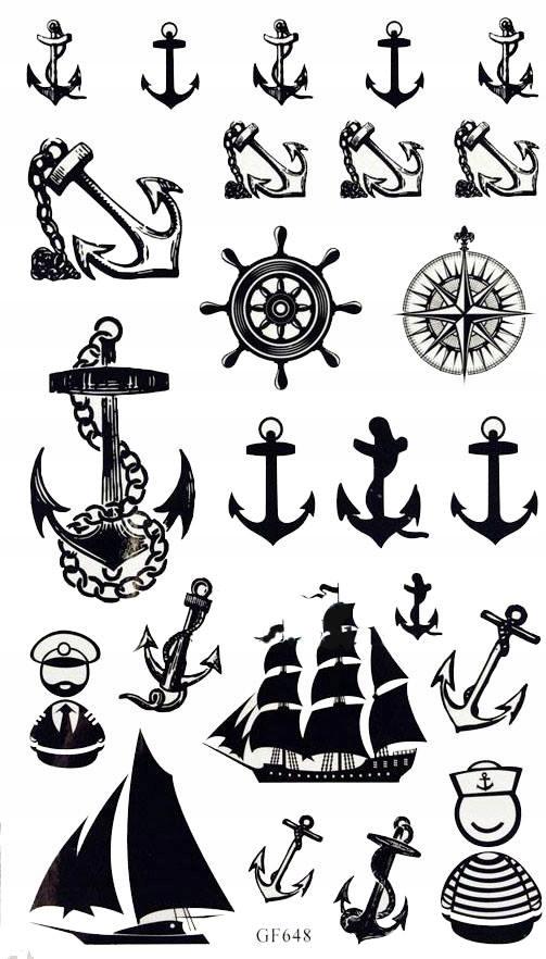 Tatuaż Statek Kotwica Anchor Kompas Kotwica Jacht