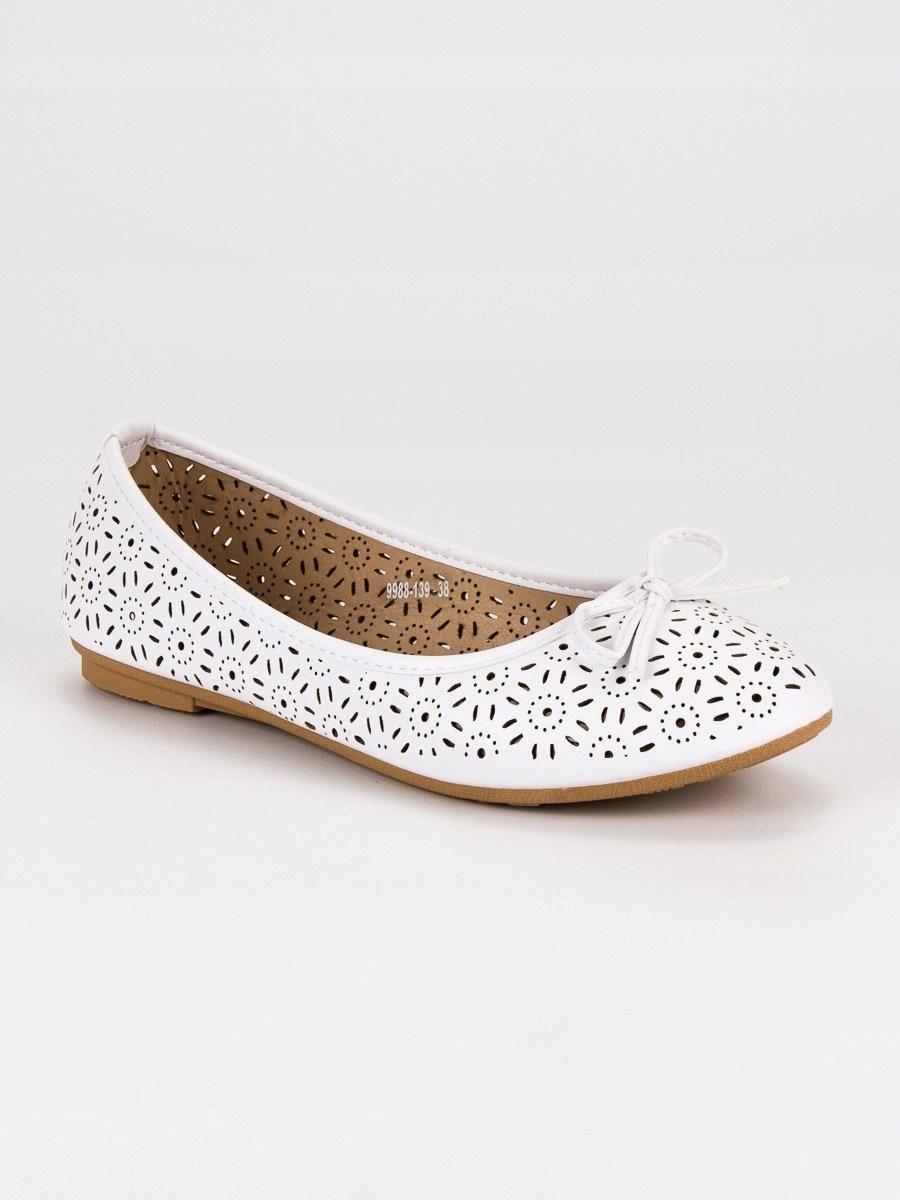 e52e2a202a4b84 AŻUROWE BALERINY 39 białe casualowy obuwie - 7423390381 ...
