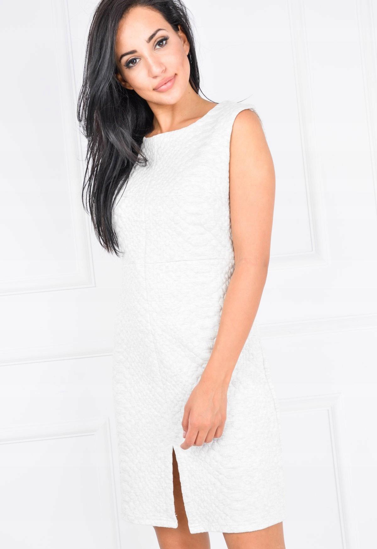 f54d958a96 Ciepła sukienka pikowana bez rękawów rozm M Kremo - 7042993503 ...