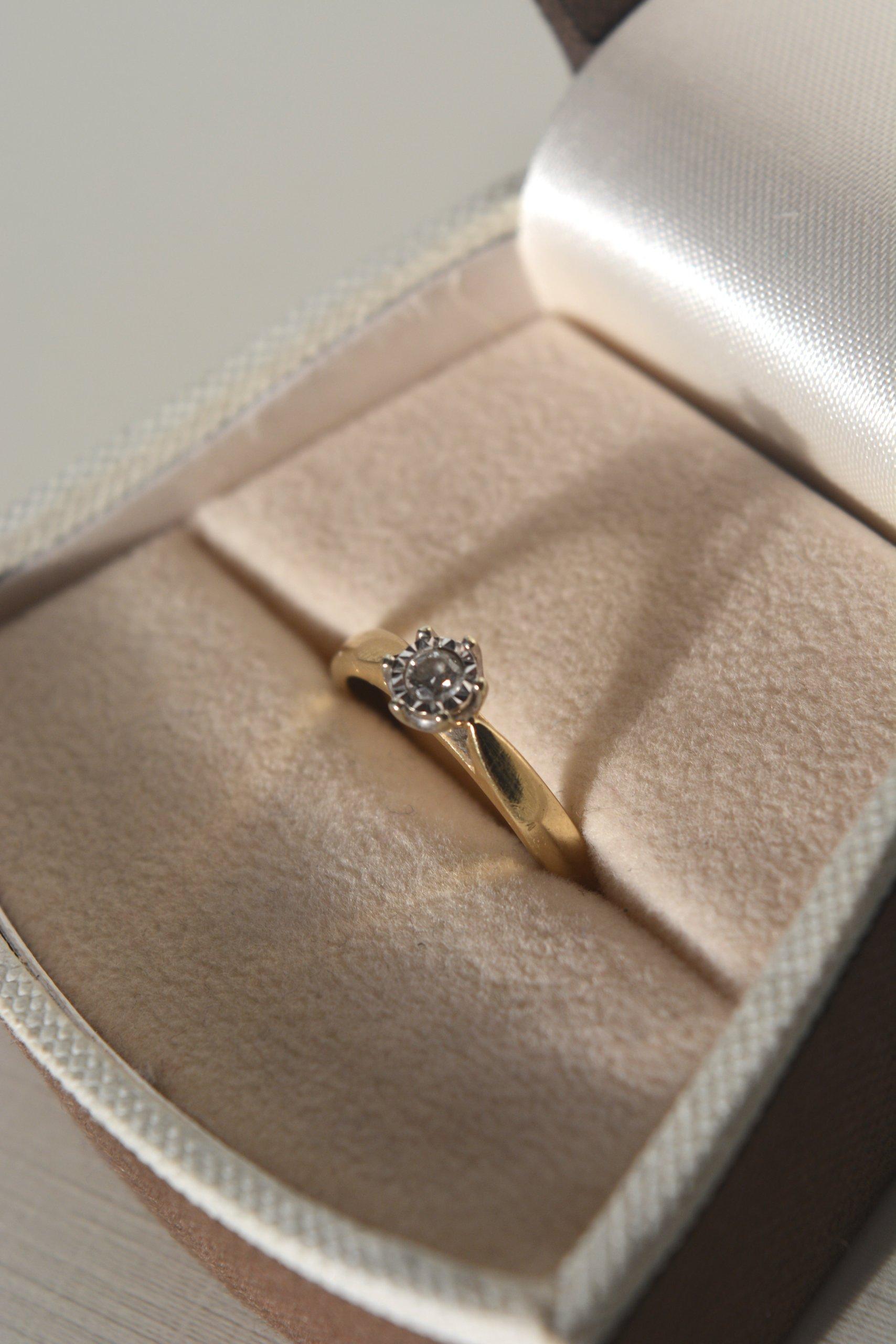 Pierścionek Zaręczynowy Złoto żółtebiałe Brylant 7157792317