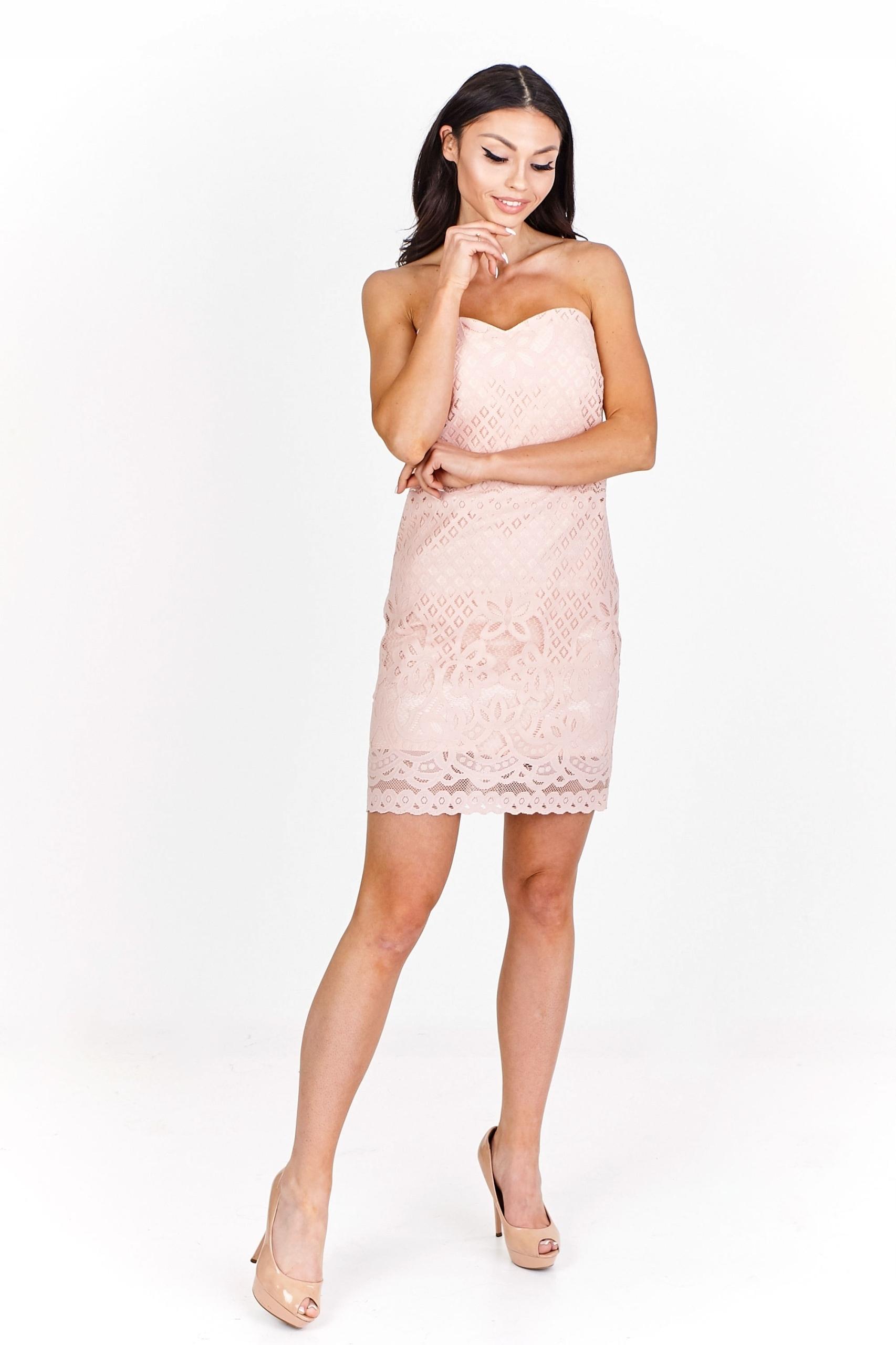 149c8bfc27 Koronkowa sukienka koktajlowa bez ramiączek Pomara - 7451972485 ...