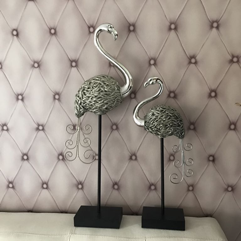 Figurki Flamingi Srebrne Dekoracje