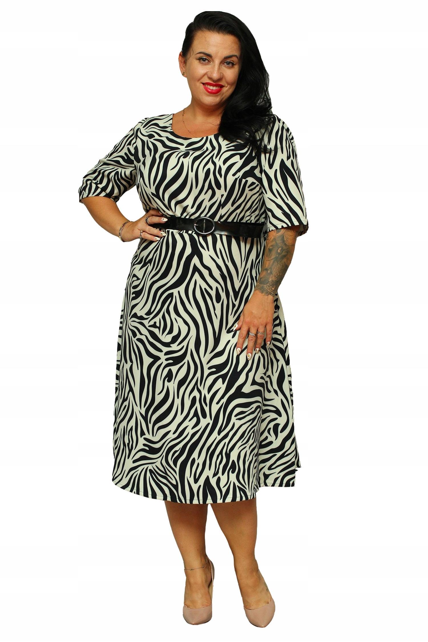 Sukienka ADEL rozkloszowana z paskiem zebra 48 7537284816