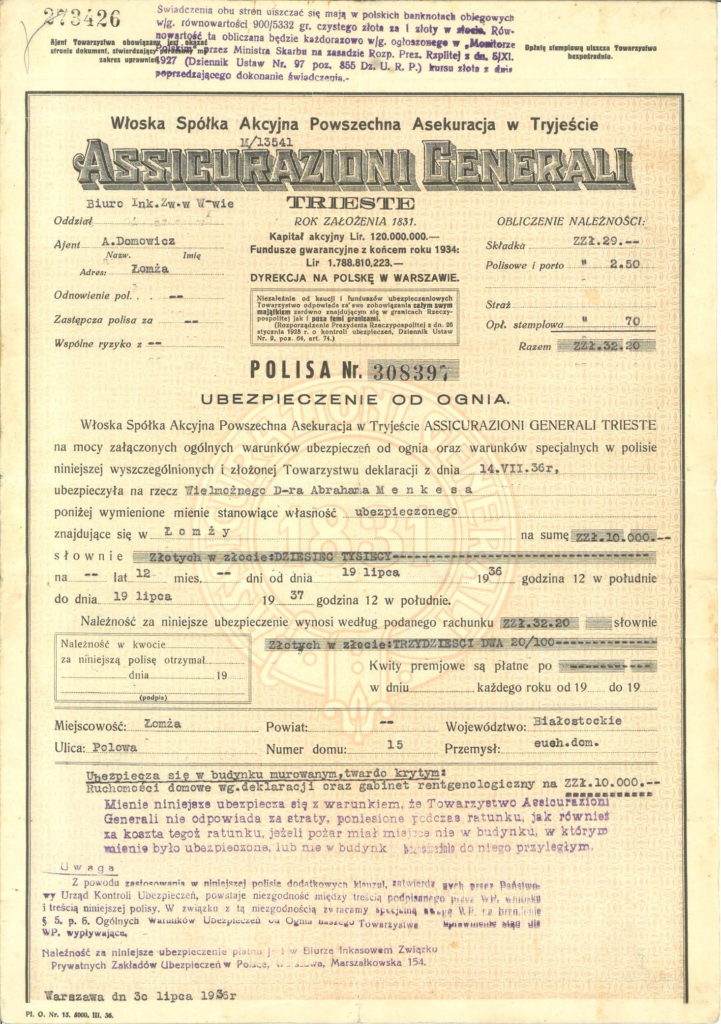 WŁOSKA SPÓŁKA AKCYJNA GENERALI WARSZAWA-ŁOMŻA 1936