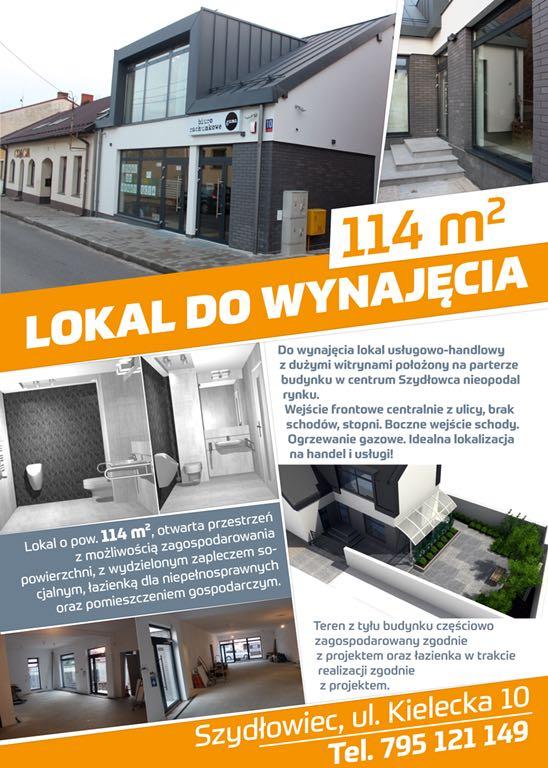 Lokal 114m2  do wynajęcia w centrum Szydłowca