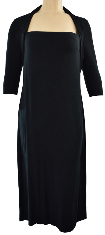 kZ1745 M&S czarna wygodna sukienka 46