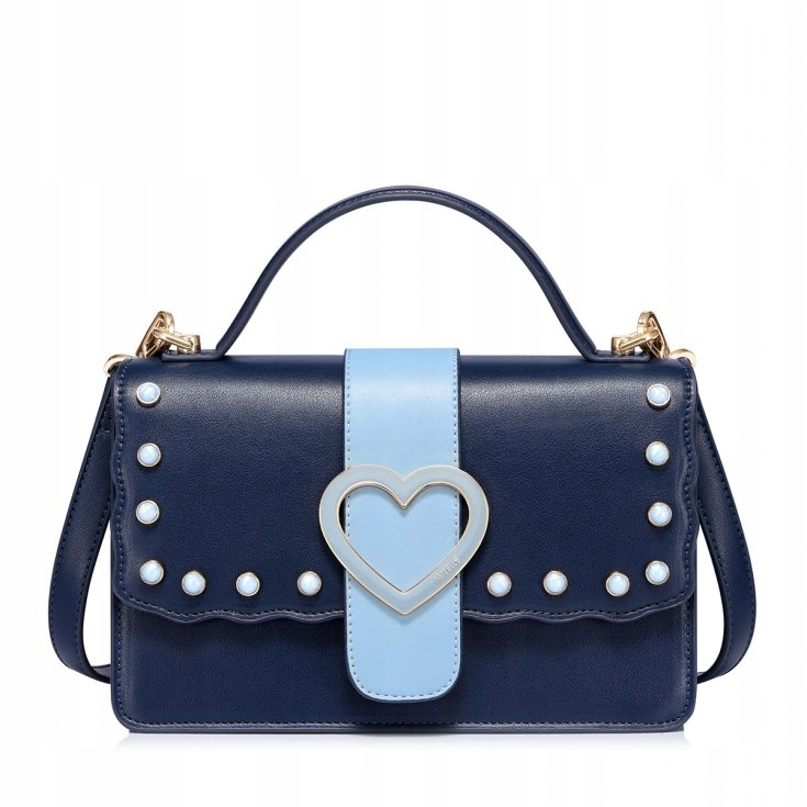 b7630bf28a9a2 Torebka damska kuferek z sercem niebieska perełki - 7706188163 ...