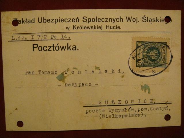 Zakł.UBEZP.Woj. ŚLĄSKIEGO- KRÓLEWSKA HUTA -1924 r.