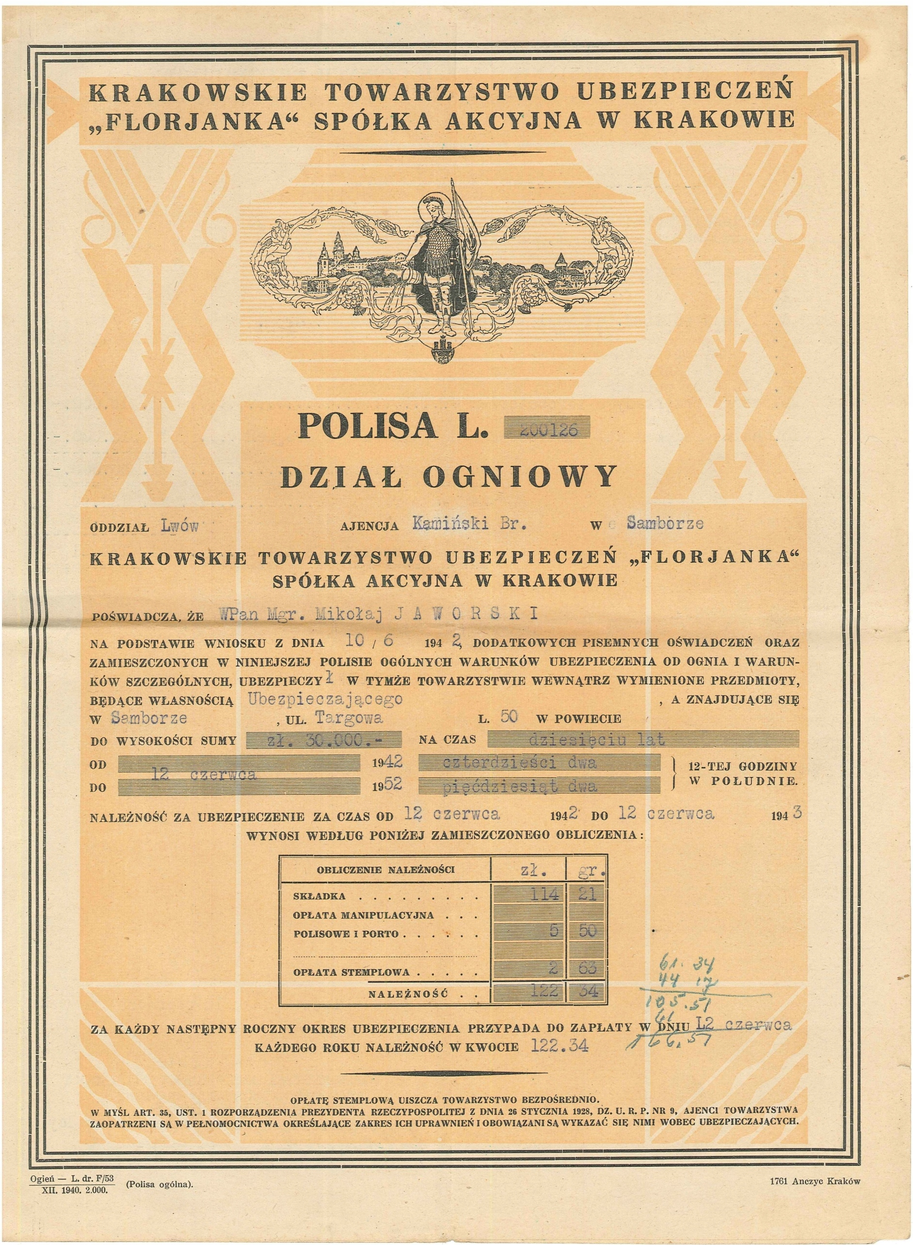 POLISA FLORJANKA LWÓW -SAMBOR 1942