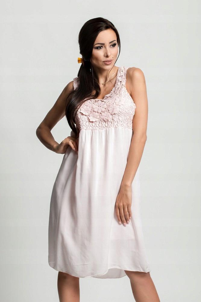 10842a64a2 Zwiewna sukienka BOHO gipiura D71 P.RÓŻ - 7426399381 - oficjalne ...