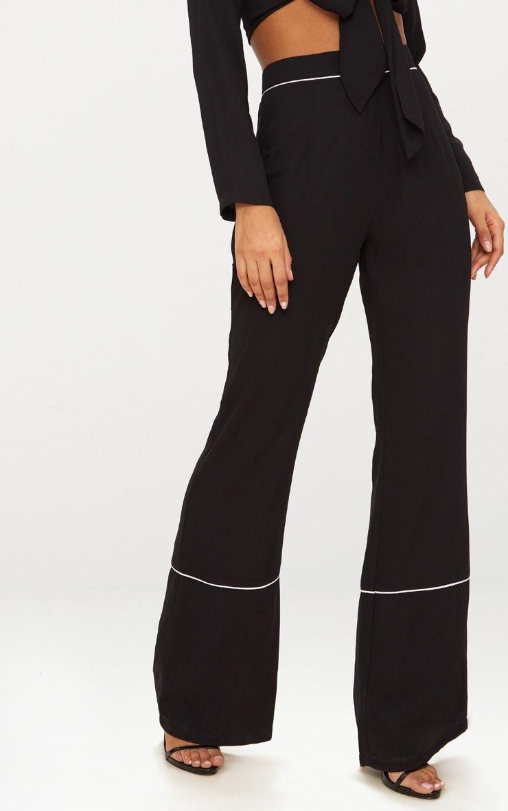 75db3f49 PRETTYLITTLETHING Czarne spodnie lamówki (36)