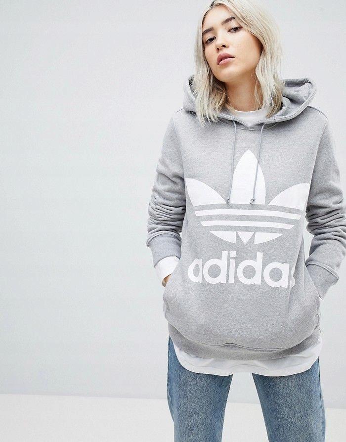 adidas bluza z kapturem damska szara rozmiar 36