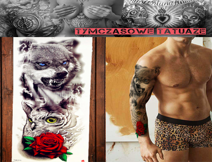 Tatuaż Na Całą Rękę 45cm Rękaw 3d Wilk Róża Sowa