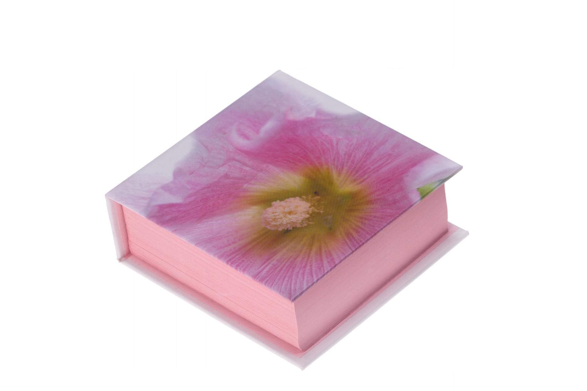 Kubik notes bloczek zapiski PREZENT różowy Kwiat