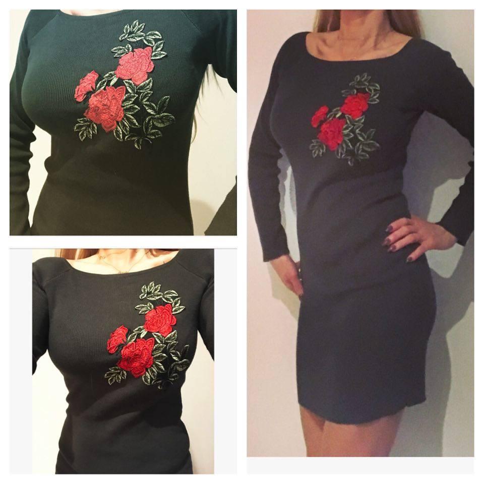 85c153e542 sukienka khaki róże kwiaty hafty dopasowana 24 H - 7510832687 ...