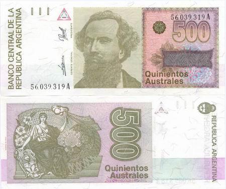 Argentyna 500 Pesos P328 1990 Stan UNC