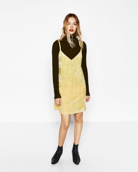 af48272336b75 ZARA nowa śliczna aksamitna żółta sukienka S - 7266362144 ...