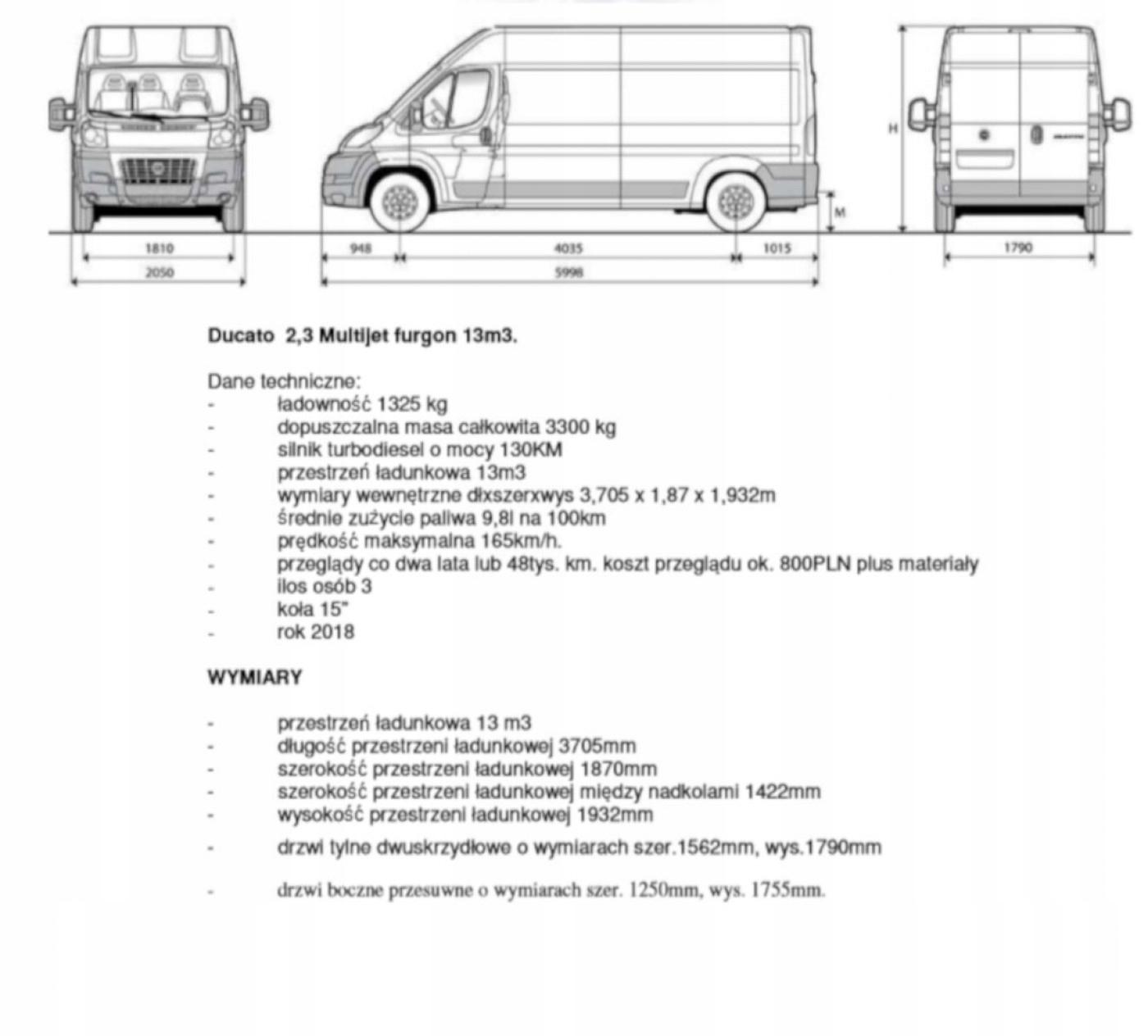 Niewiarygodnie Fiat Ducato L3H2 130KM 18 LAT - 7612541164 - oficjalne archiwum QS02
