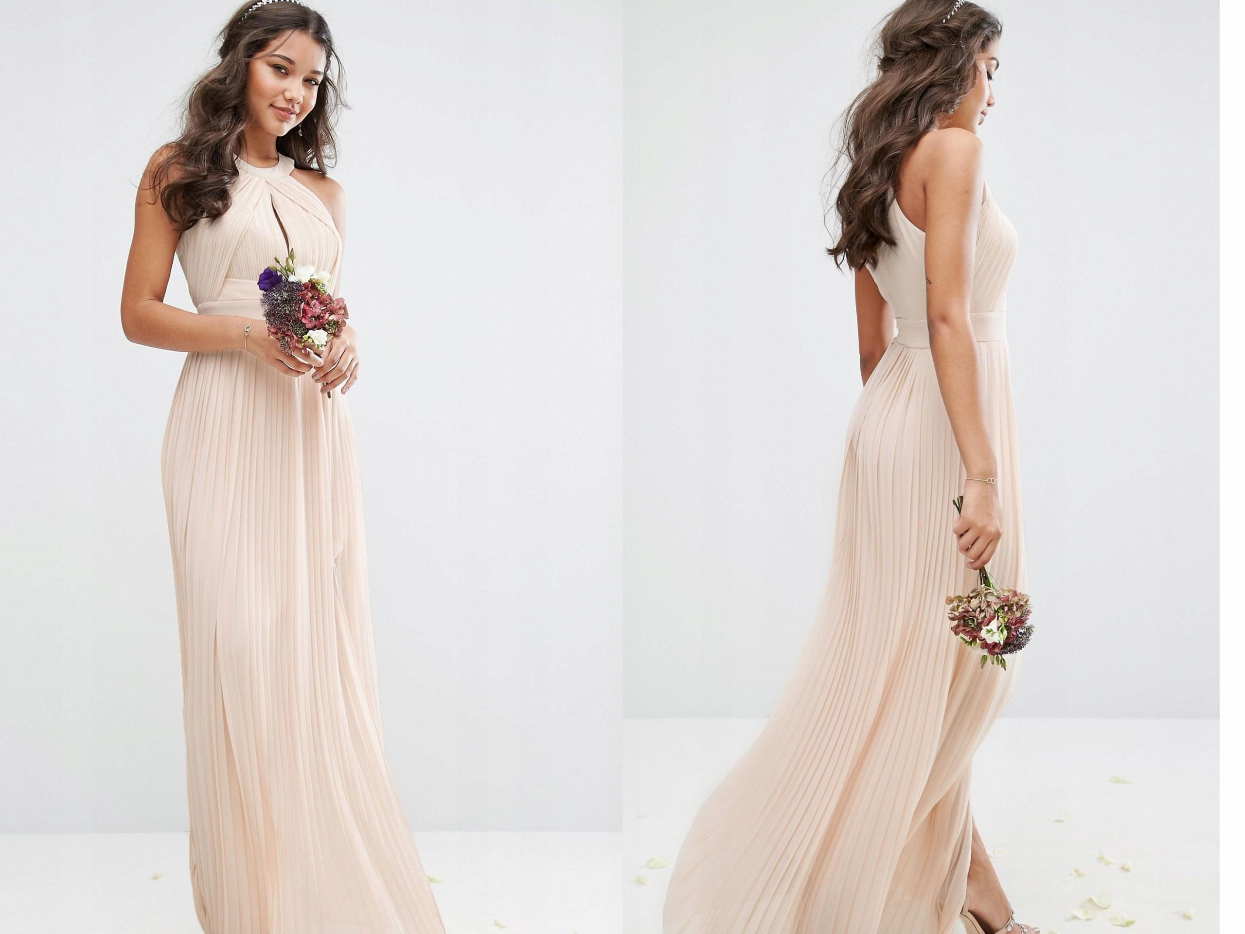 bae576deab TFNC Plisowana Kremowa Sukienka Maxi M 38 - 7436266088 - oficjalne ...