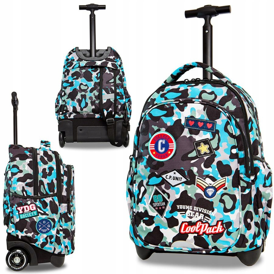 7baa19203cfe5 Młodzieżowy plecak na kółkach moro niebieski lekki - 7736710509 ...