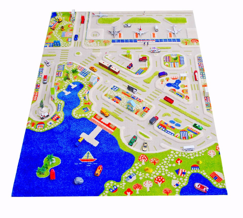 Dywan Dziecięcy 3d Miasto Portowe 134x180 Cm 7334099374