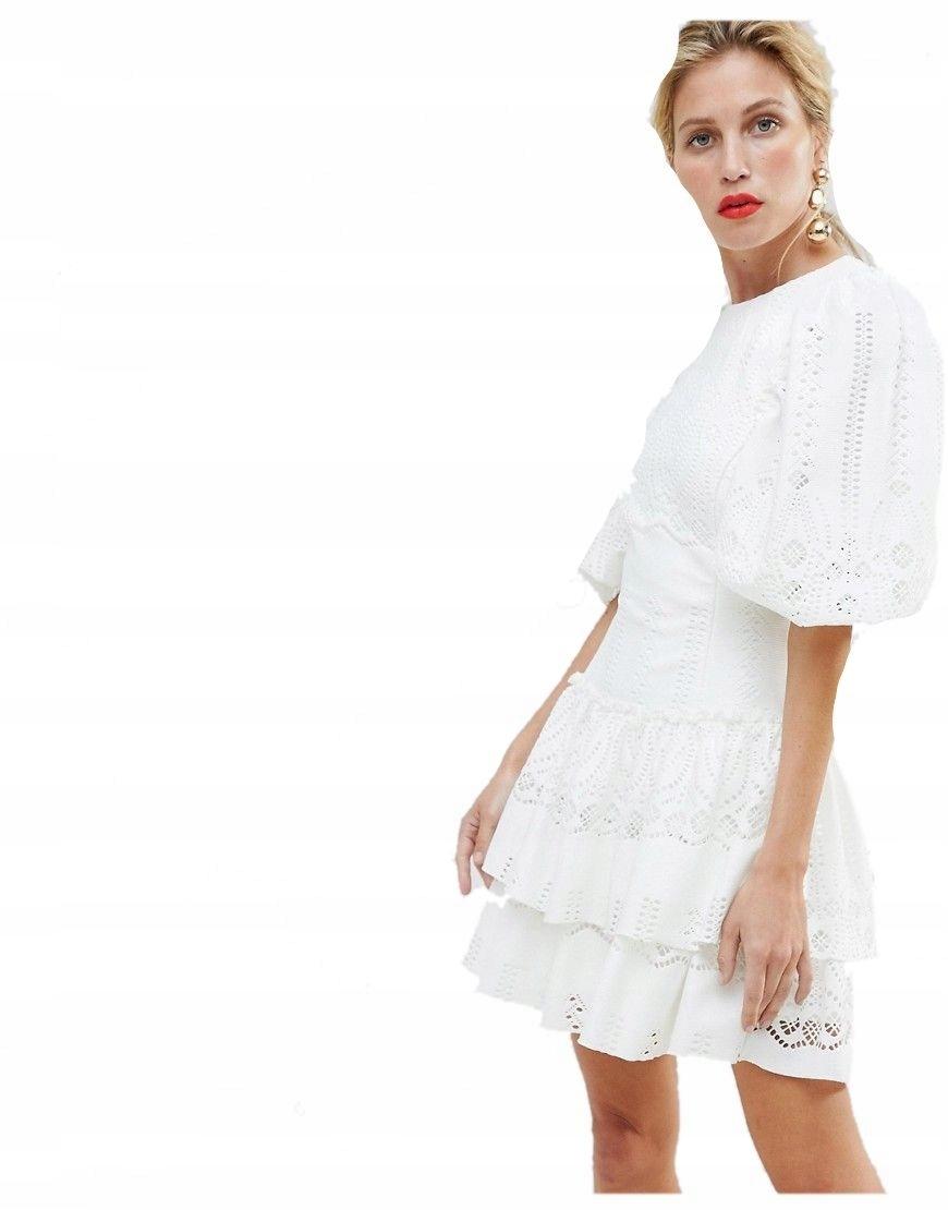 5c349e228b sukienka MINI kremowa KORONKOWA plecy XS 34 - 7446510057 - oficjalne ...