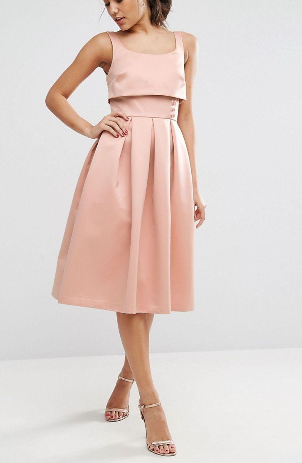 ca98a6447d Sukienka pudrowy róż kloszowana 36 s wesele - 7352840505 - oficjalne ...