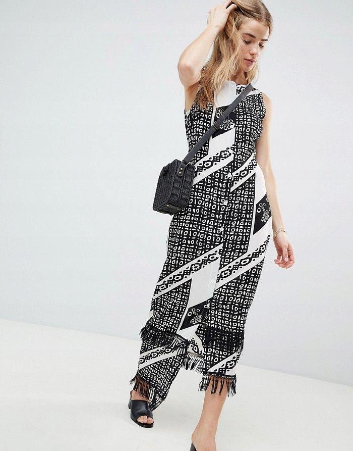 251f0860f1 PARISIAN Biało czarna prosta sukienka frędzle (44) - 7674791975 ...