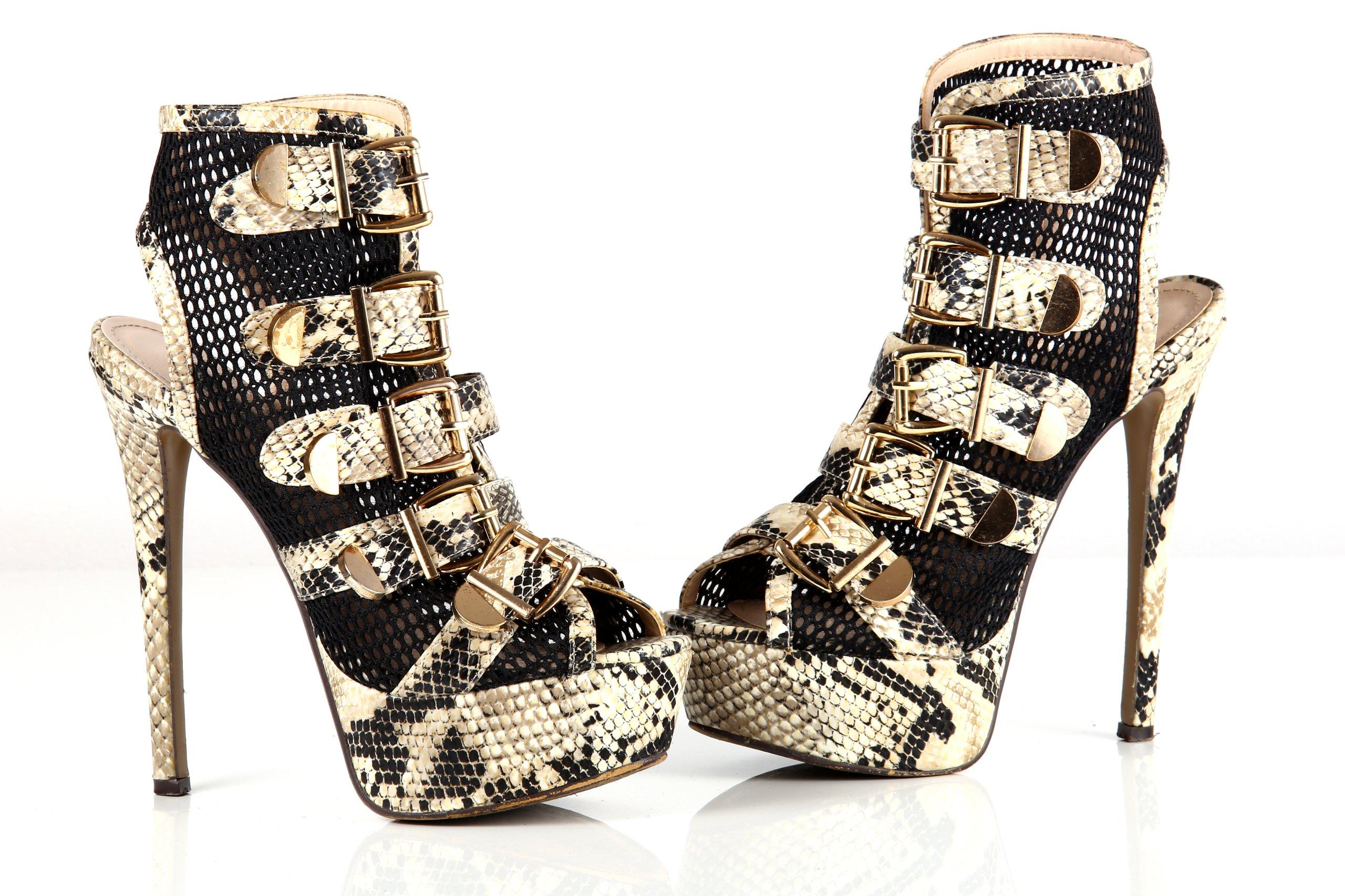 Niesamowite buty szpila czółenka motyw węża wysokie 38 MEGA - 7390476406 AU37