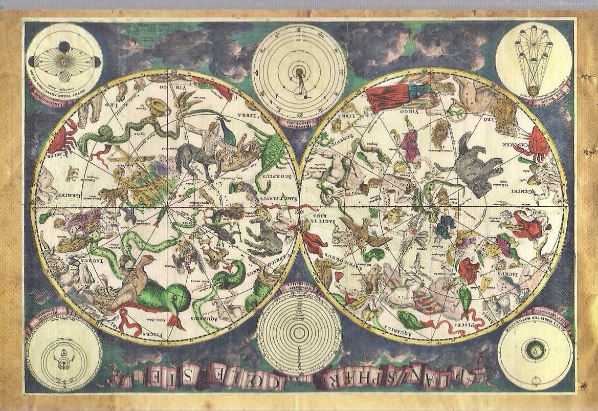 pocztówka MAPA ZACHODNIEGO NIEBA z 1670 ROSJA
