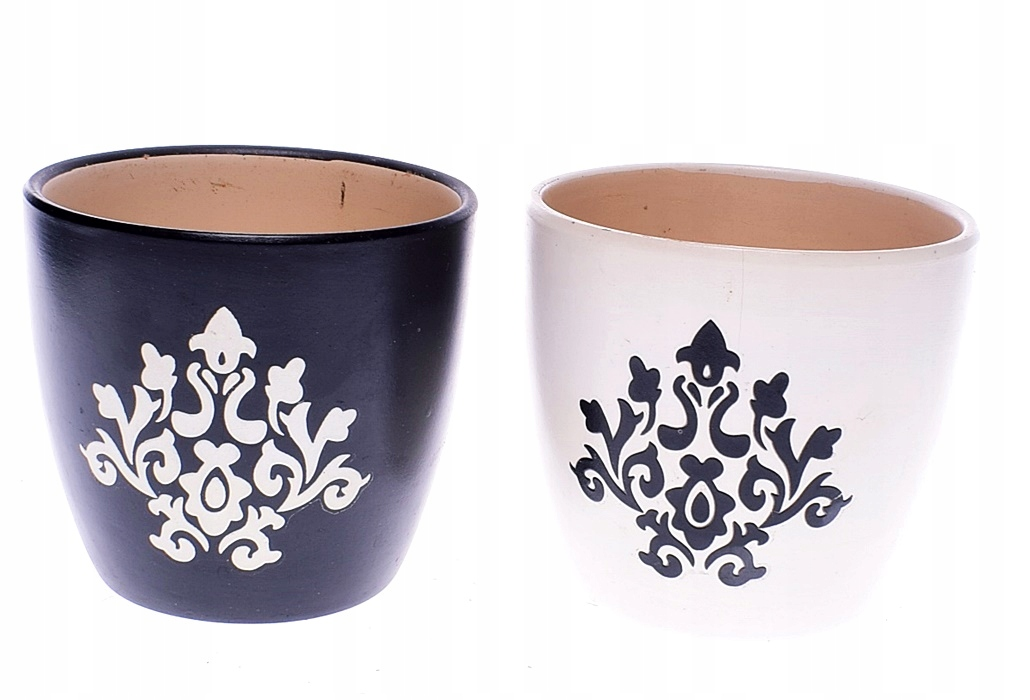 4639 1 Pp Ceramiczne Doniczki Bialo Czarne