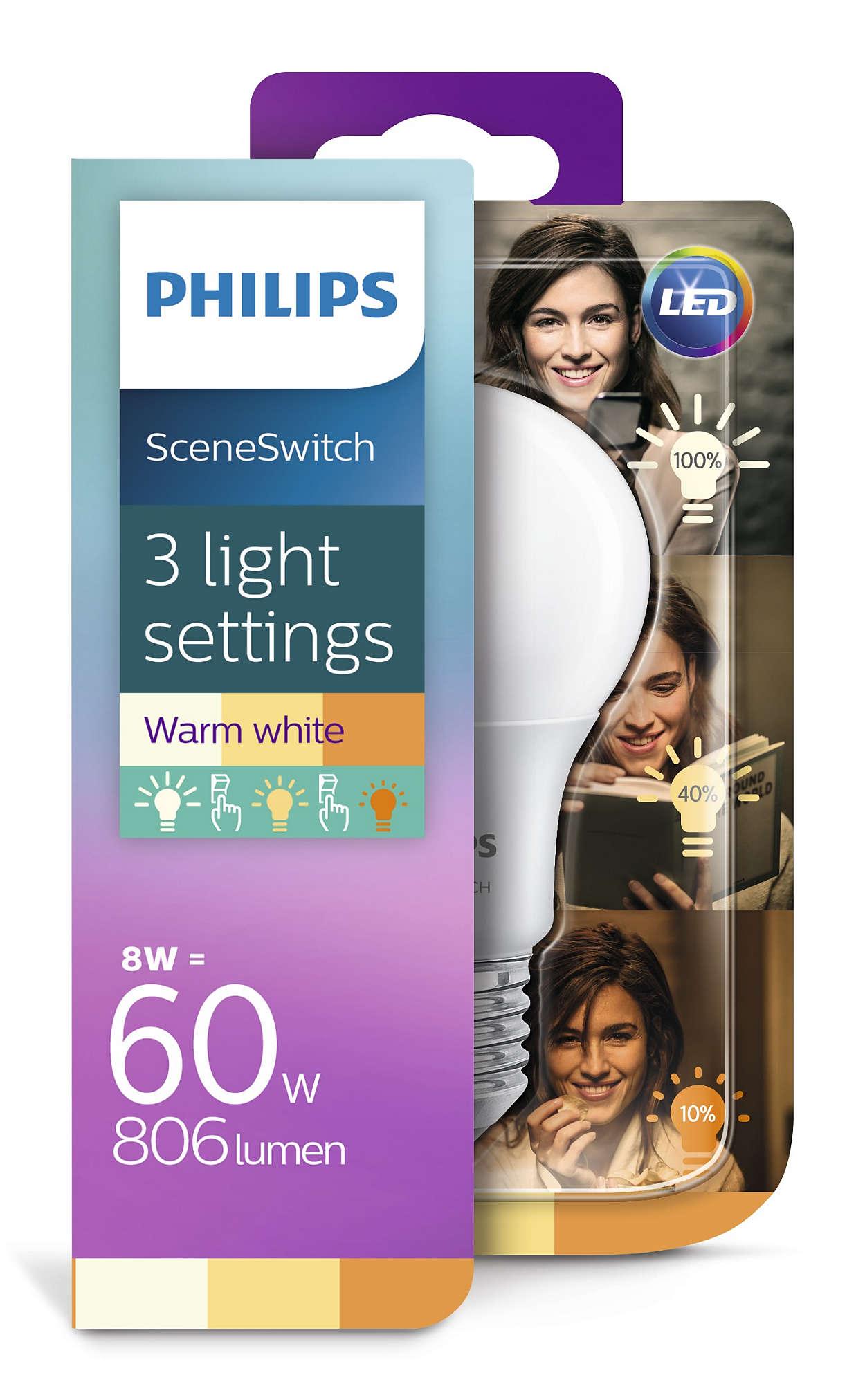 Philips Żarówka LED E27 8W 2200k-2700k SceneSwitch