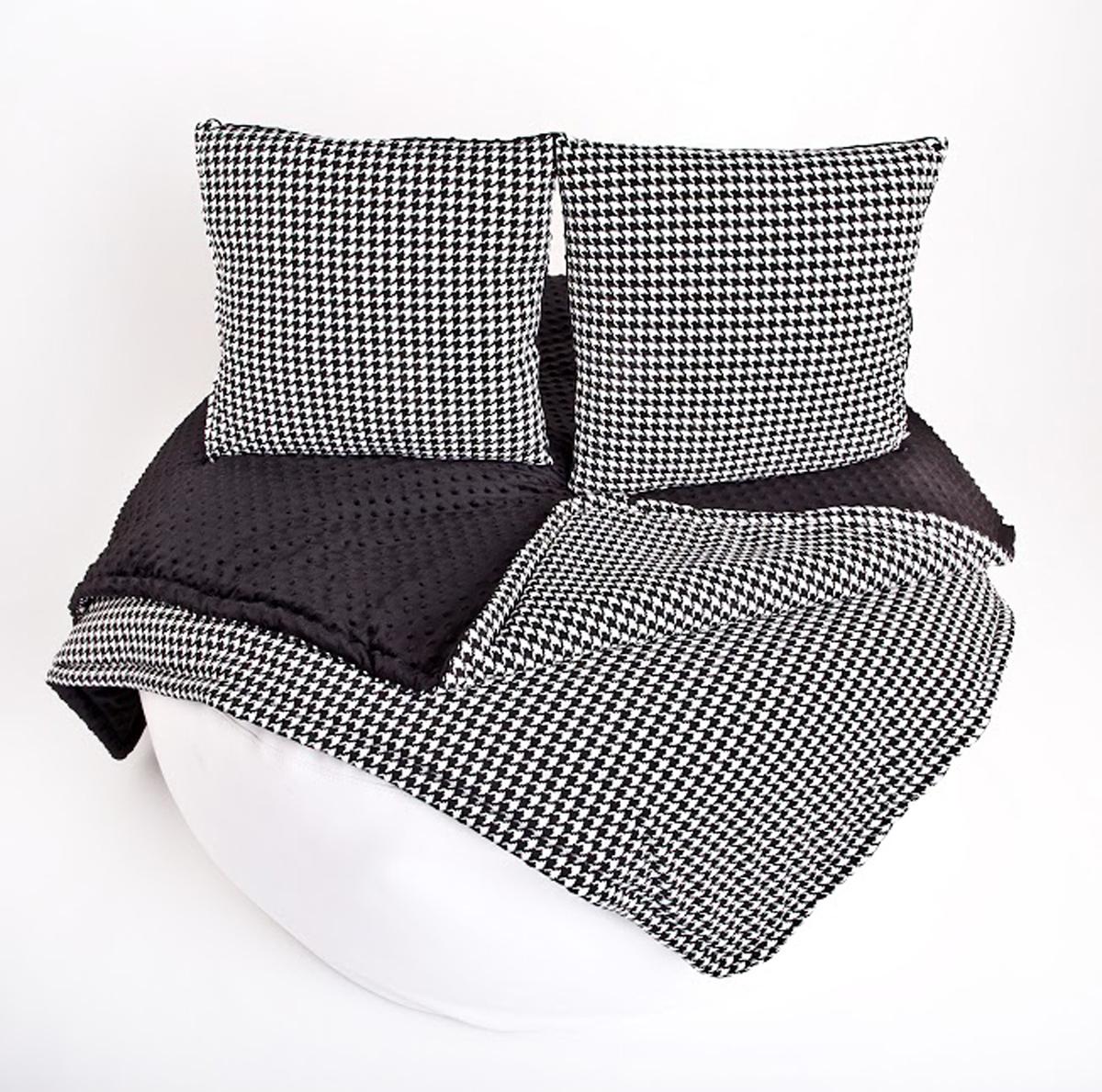 Ciepły Koc pepitka, kratka bawełna minky +poduszki