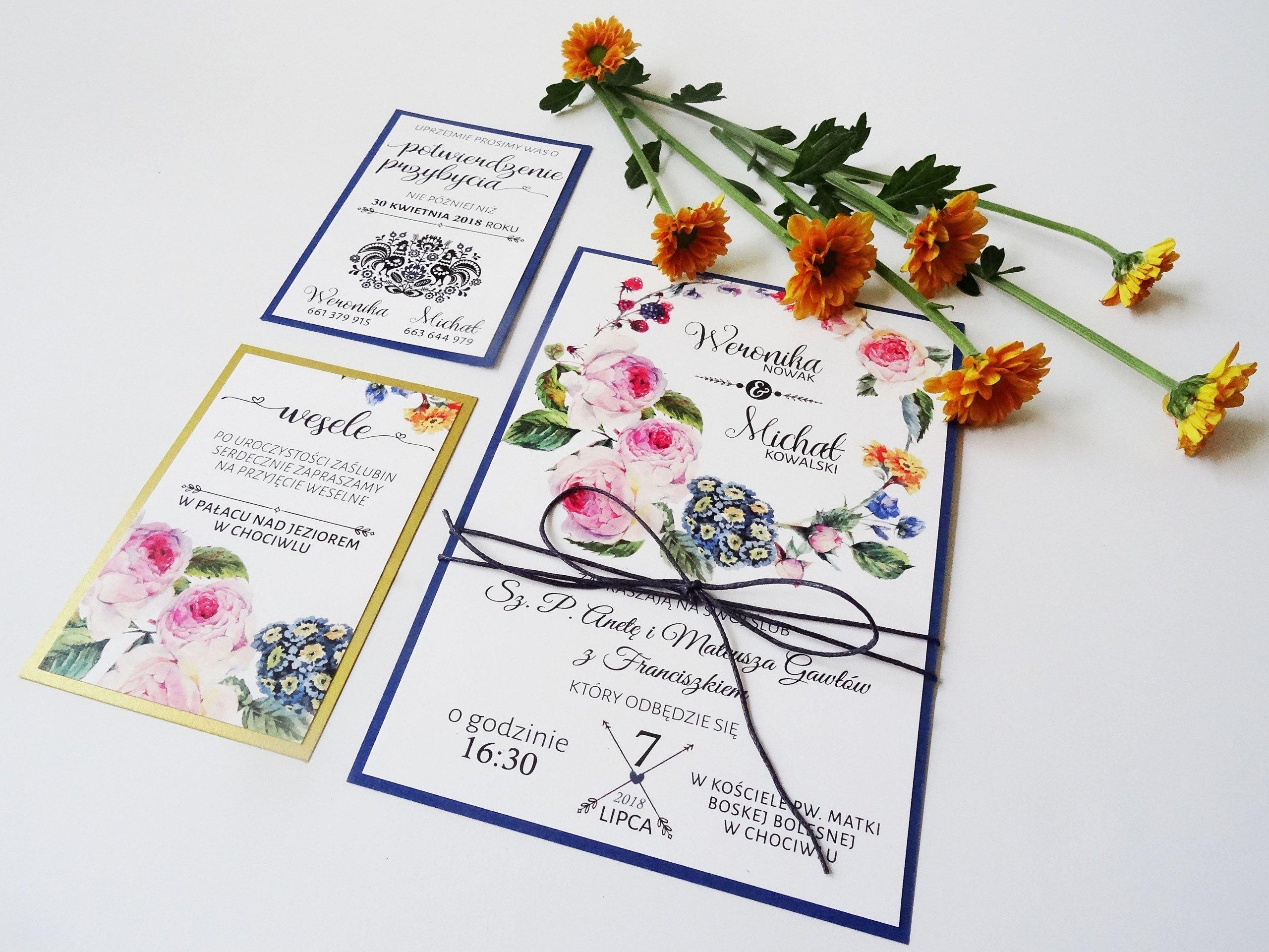 Zaproszenia ślubne Kwiatowe Nowoczesne Folk Ludowe 6887708330