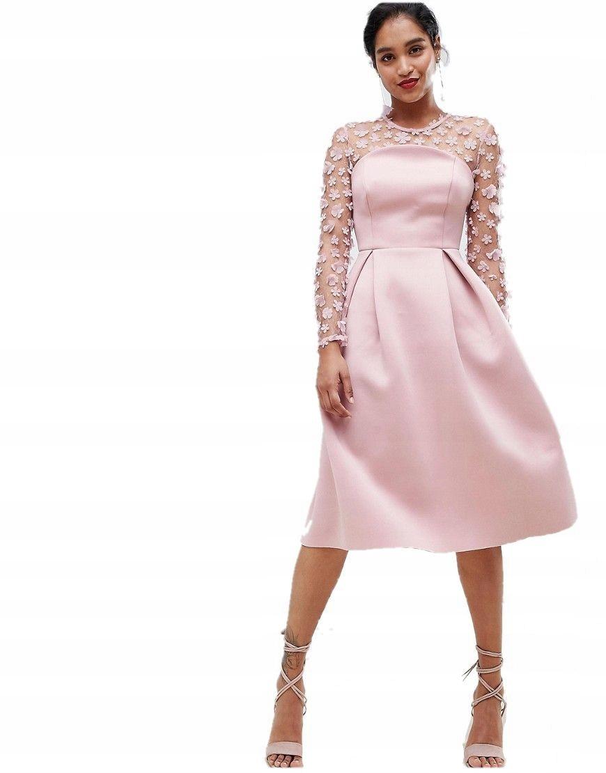 fdc72285f7 sukienka MIDI pudrowy róż ZDOBIONE RĘKAWY S 36 - 7424544543 - oficjalne  archiwum allegro