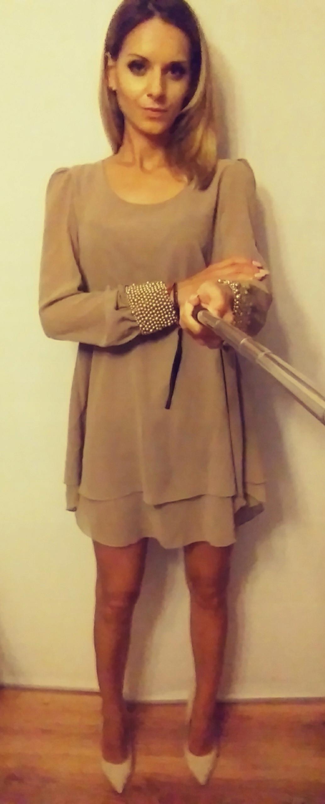 b4069563dc Sukienka beżowa rękawy perełki rozmiar 36 - 7457189911 - oficjalne ...