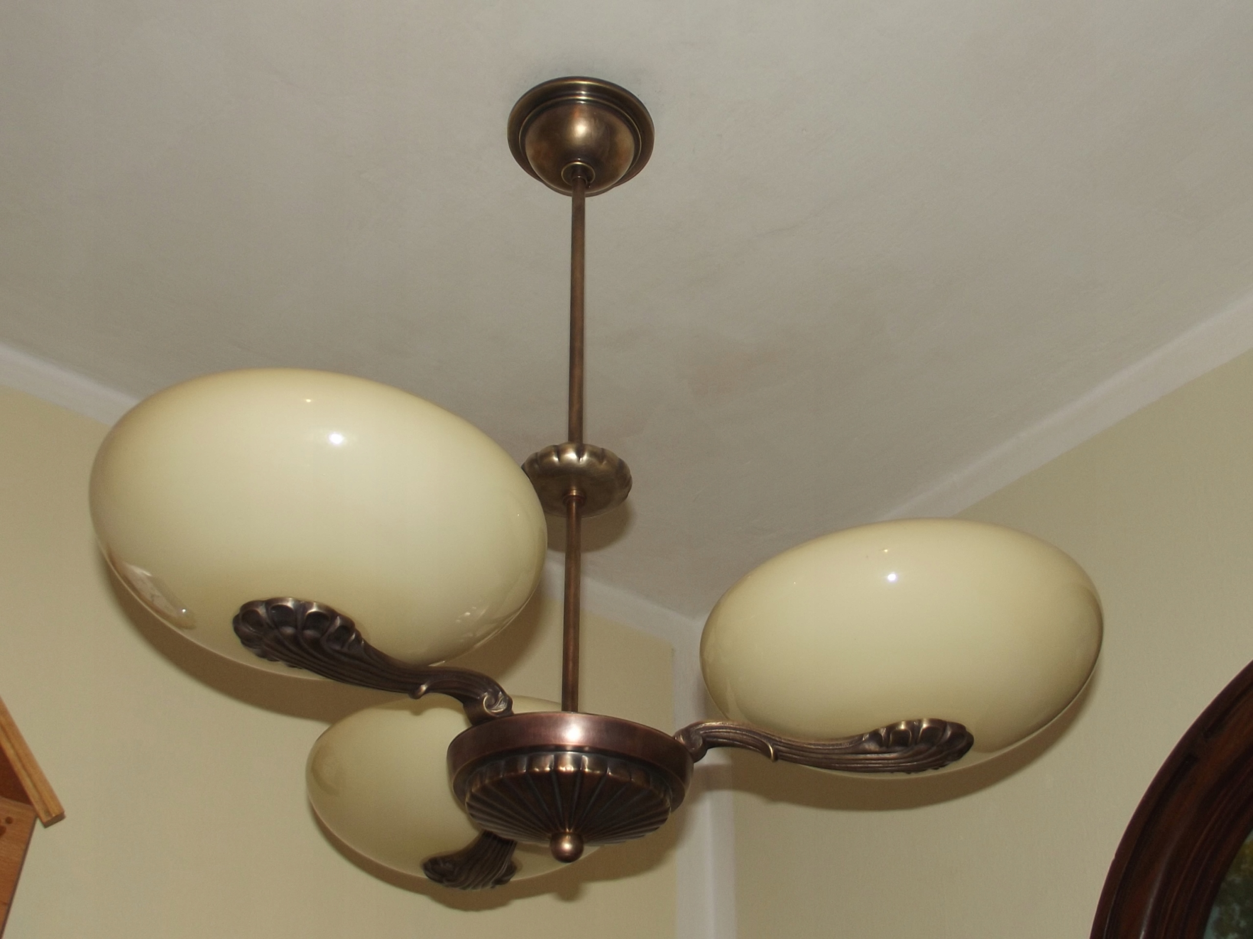 Wszystkie nowe ŻYRANDOL,LAMPA ART-DECO L.40 KLOSZE Huta ZAWIERCIE - 7488149008 CH64