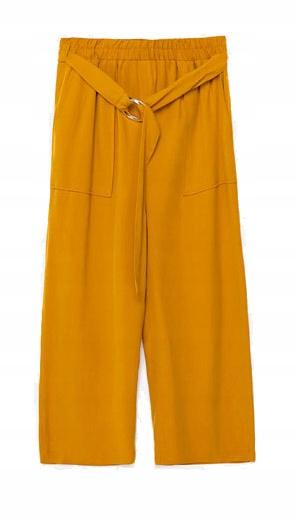 d81a603ab68d48 Zara L spodnie żółte z paskiem i wysokim stanem - 7522799291 ...