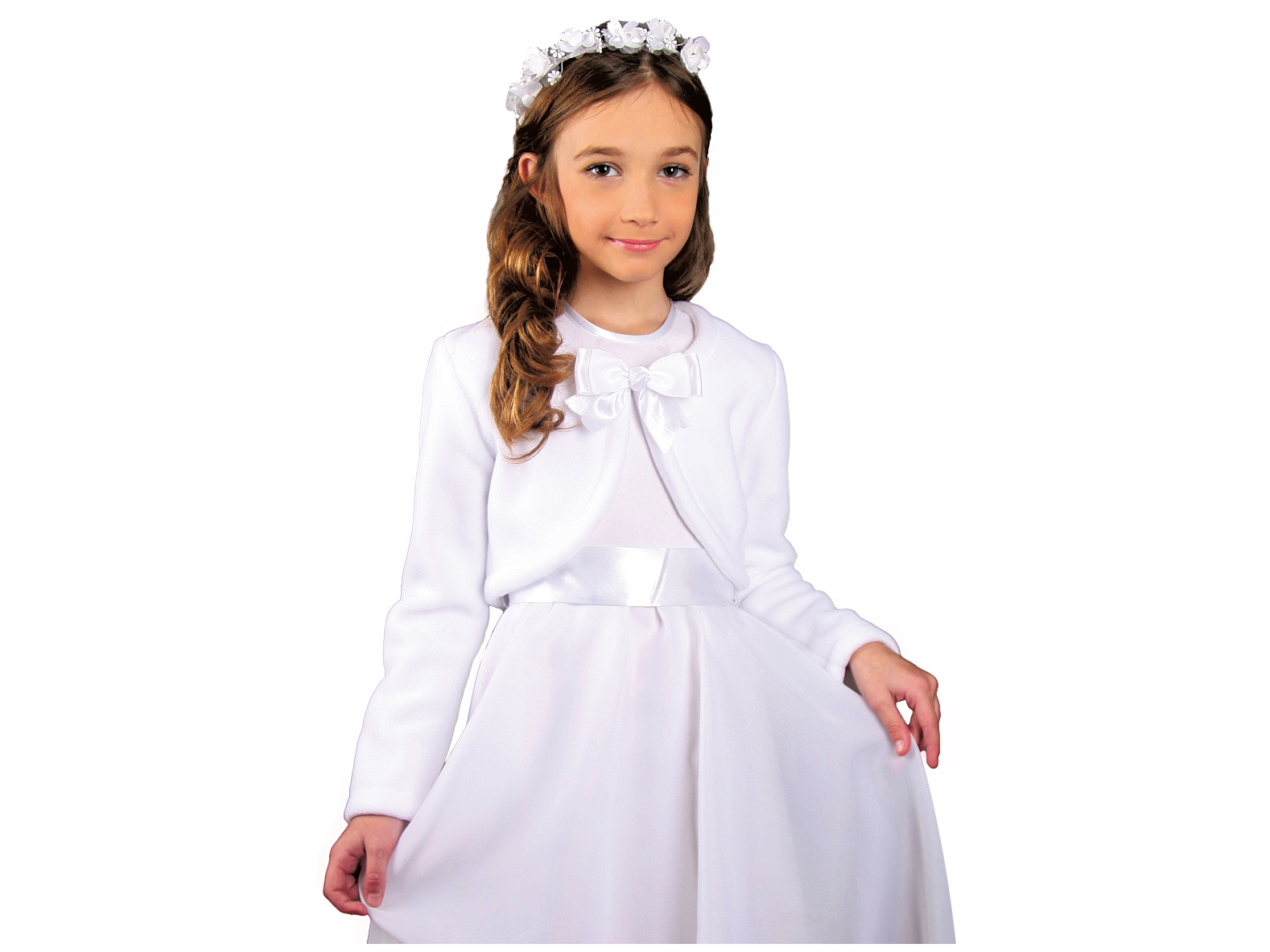42a778e3bb Białe bolerko do komunii dla dziewczynki Komunia - 7115405307 ...
